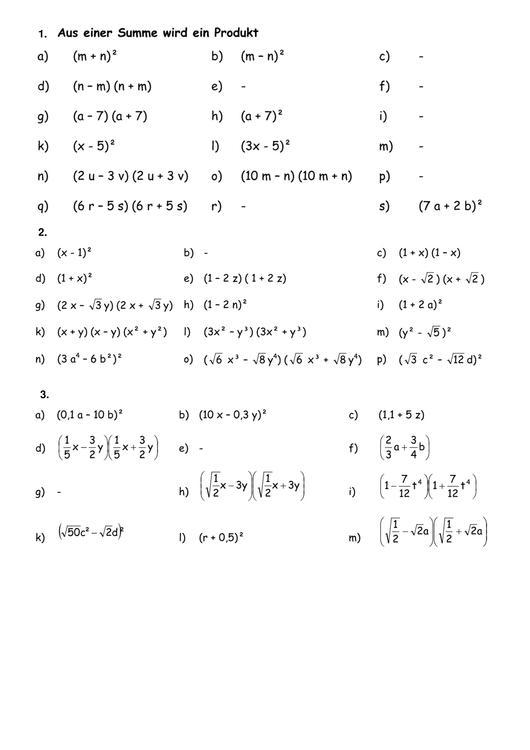 Arbeitsblatt Binomische Formeln : Datei m binomische formeln ab lösung pdf rmg wiki