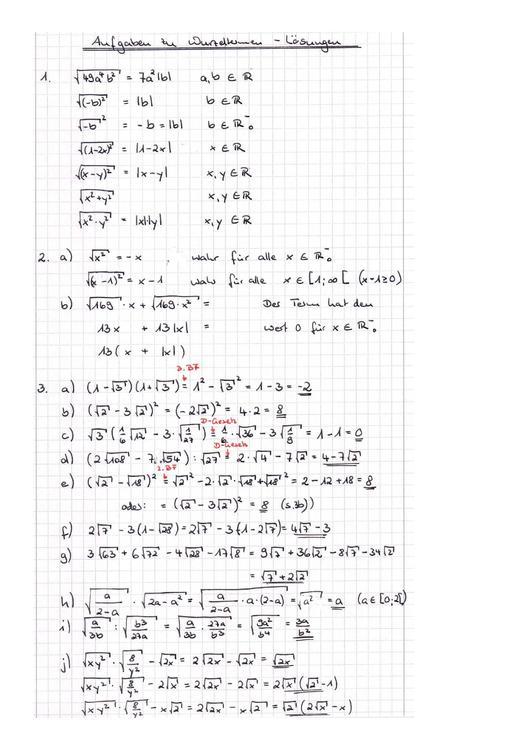 Datei:Arbeitsblatt Wurzelterme Lösungen SHE.pdf – RMG-Wiki