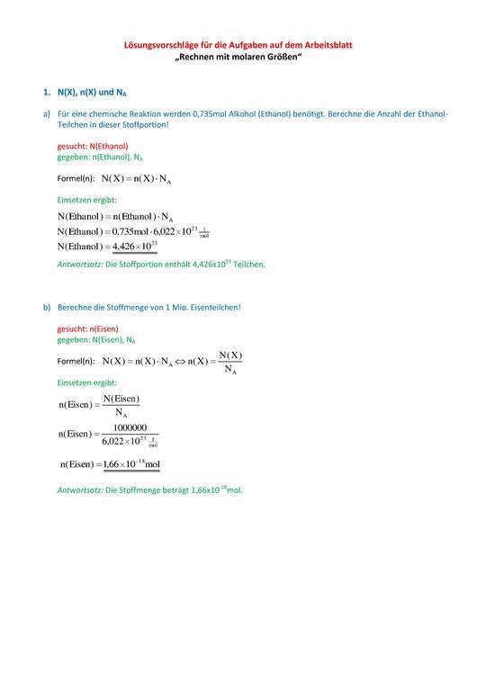 """Lösungsvorschläge für die Aufgaben auf dem Arbeitsblatt """"Rechnen mit ..."""